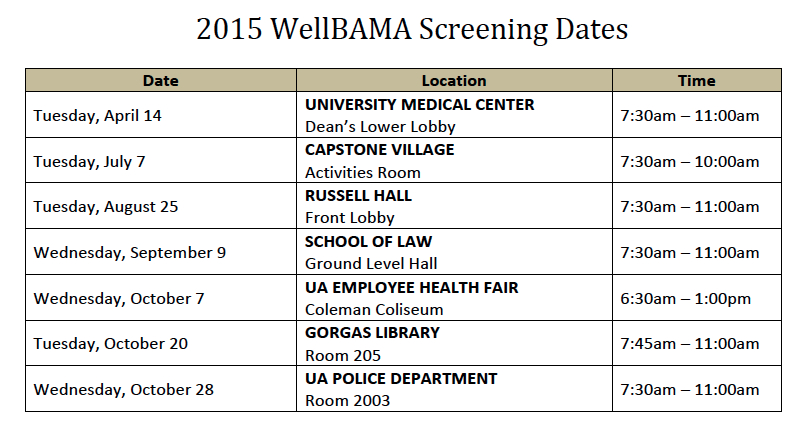 UPDATED 2015 WB DATES