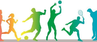 Colorful individuals playing sports