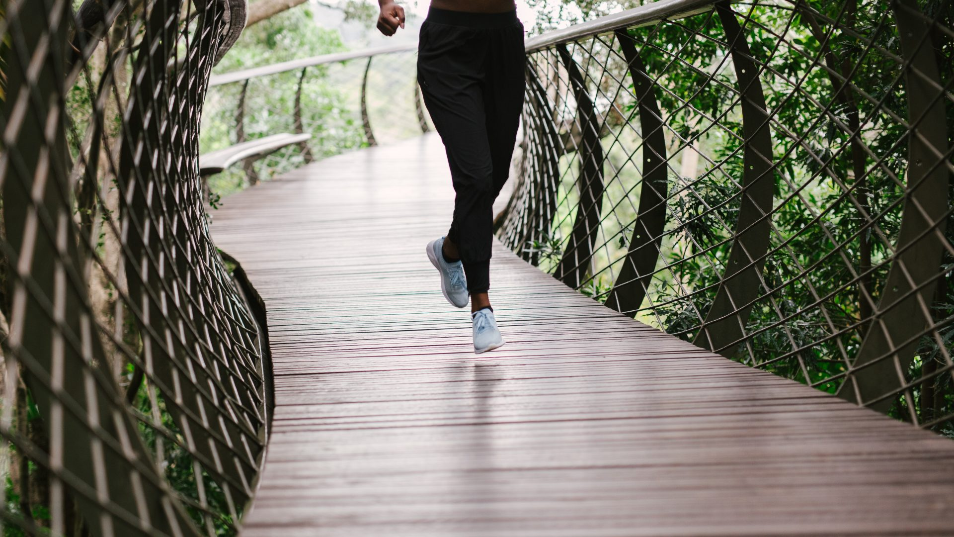 running on a bridge